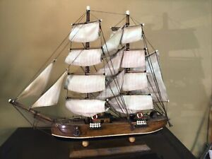"Antique Sailing Ship NOT A KIT 17.5""""tall 19""long All Wood Bric-Barca Siglo XIX"