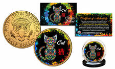 Chinese Zodiac PolyChrome Genuine JFK Half Dollar 24K Gold Plated Coin - CAT