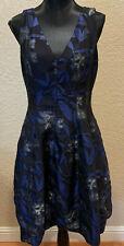 Halston Heritage Womens Blue/Back/Grey Floral V-Neck Party Cocktail Dress Sz 10