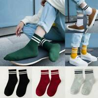 Women Cotton Striped Socks Soft Cute Solid Short Sports Breathable Casual Socks