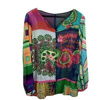 Desigual Women's Sz XL Sheer Multi Color Affirmation Button Front Peplum Blouse