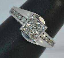Solid 18 Carat White Gold and 0.75 Carat Diamond Cluster Ring d0192