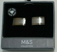 NEW IN BOX M&S COLLECTION MEN'S CUFFLINKS Silver Colour Metal