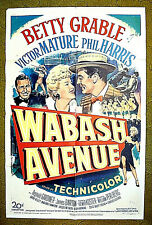 "BETTY GRABLE, VICTOR MATURE, PHIL HARRIS /  1950 poster 27x41 -- ""WABASH AVENUE"""