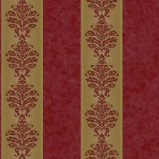1 Yard sample of Stripe Wallpaper with Mottled Burgundy and Gold Damask  RL9549
