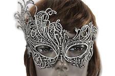New Women Men Half Face Eye Costume Mask Black Fabric Flowers Filigree Halloween