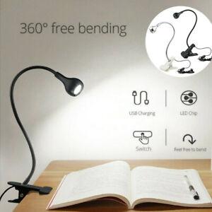 UK USB Flexible Reading LED Light Clip-on Beside Bed Desk Table Lamp Book Lamp