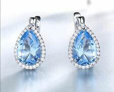 6Ct Pear Unique Cut Aquamarine Drop & Dangle Stud Earrings 14K White Gold Finish
