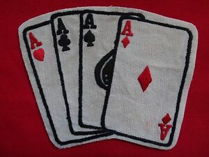 Stacked Deck Poker Aces NCO Club - Vietnam War Hand Made Patch