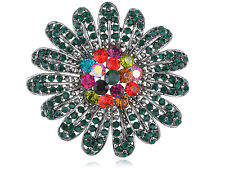 Trendy Costume Fashion Flower Multicolor Diamante Rhinestone Pin Brooch Jewelry