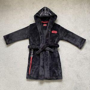 M&S Star Wars Darth Vader Black Fleece Dressing Gown Robe Boys Pyjamas 5-6 Years