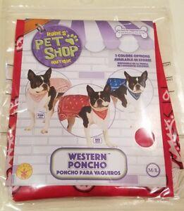 Rubie's Pet Shop Boutique Dog Western Poncho Doggie Costume Size M/L NIP Red