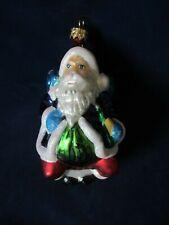 Vintage Christopher Radko Mercury Style Glass Santa On Sleigh w/ Bottle Ornament