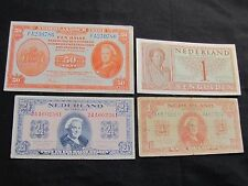 Lot of 4 Netherlands Notes - 1943 50 Cents, 1945 1 Gulden, 1945 2 1/2 Gulden