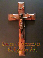 """18"""" by 9"""" Antique Altar Wall Hanging Wood Cross Copper Corpus Crucifix FRANCE"""