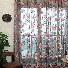 Blumenmuster Tüll Voile Tür Fenster Vorhang Romantisch Stoffbahn Durchsichtig