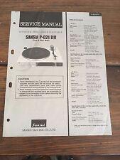 Sansui P-D21 P-D11 Turntable Manual & Schematics Factory Original Rare!