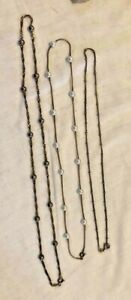 3 Sterling Delecate Ball Accent Necklaces