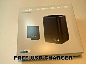 GoPro Dual Battery Charger AADBD-001+ Battery + USB charger for HERO5 6 7 Black