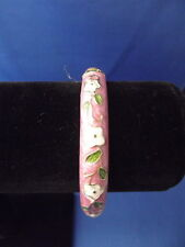 Spring Cuff Bracelet Jewelry - WHITE FLOWER on PINK GOLDTONE Metal