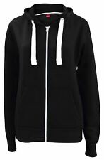 New Plain Women Big Size Loose Fit Fleece Zip Hoody Jacket Sweatshirt Hooded Top
