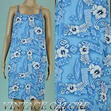 2d29c435182 VTG 80s 90s Grunge Light Blue floral Hawaiian Beachy summer sun dress Sz M