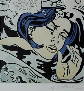 """ROY LICHTENSTEIN """"Drowning Girl"""""""" MATTED PLATE SIGNED"""