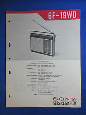 SONY 6F-19WD TRANSISTOR RADIO SERVICE MANUAL ORIGINAL FACTORY ISSUE  GOOD COND