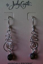 Jody Coyote Earrings JC0525 new hypoallergenic silver beaded dangle made USA