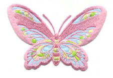 """BUTTERFLY LIGHT MAUVE/MULTI PASTELS 5""""W(12.8CM) EMBROIDERED IRON ON APPLIQUE"""