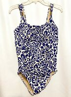 Women's LANDS END Bathing Swim Suit One Piece White Blue Floral Padded Size 12