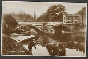 Postcard Appleby in Westmorland Cumbria boy fishing by The Bridge posted 1933 RP