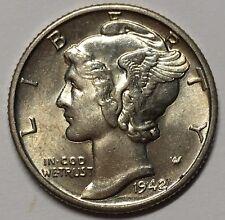 1942 10C FB Mercury Dime UNC