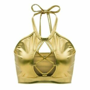 Women Crop Halter Neck Tank Tops Camisole Vest Club Party Shiny Gold Fashion New