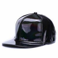 Shining Punk Flat Brim Hip Hop Cap Adjustable Snapback Cool Baseball Hat Leather