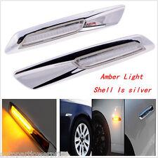 2pcs AMBER LED SIDE MARKER CLEAR REPEATER INDICATOR Lamp For BMW E90 E92 E93 E81