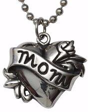 Mom Tattoo Heart Fine Sterling Silver Custom Pendant Ball Chain 925 Femme Metale