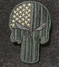 Punisher Embroidered USA Flag Police Military Green Patch Armband Patch - US