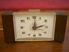 Vintage Mid Century Sunbeam Starburst Teak Wood Alarm Clock WORKS