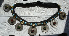 Indian Kuchi  tarnished jewel silver colour coin beaded necklace