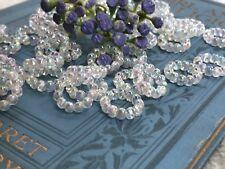 Vintage Aurora Borealis Beads, Austria, AB Connectors, Circle Beads, Hoop #746