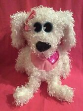 Accessory Innovations White/Pink/Black Dog Backpack/Pink Straps/Red Heart Plush
