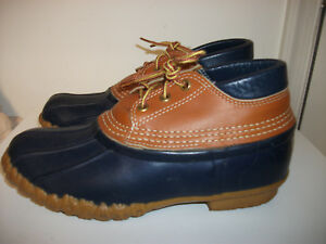 L L BEAN DUCK BOOTS MAINE HUNTING SHOES CLASSIC NAVY BLUE W/ BROWN TRIM SIZE 8M
