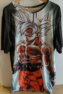 Dragon Ball Z Goku All Over Print T-shirt-Super Saiyan White, Youth 3XL/Adult XL