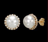 375 ECHT GOLD  *** Perlen Zirkonia Ohrstecker Ohrringe 9 mm