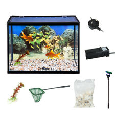 18 Litre Glass Aquarium Fish Tank Starter Pump Net Plant Stones Kit Set Filter