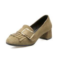 Women Block Mid Heel Tassel Pumps Shoes Big Buckle Casual Suede Shoes Boat Size