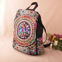 Women Boho Canvas Embroidery Bohemian Hippie Backpack School Book Bag Pouch Gift