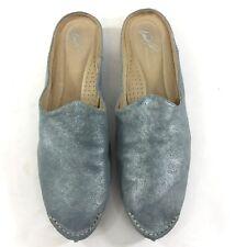 99fc772b170 Donald J Pliner Sz 10 Babou Slip On Metallic Silver Blue Mules Shoes