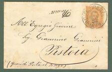 Regno. Ambulante Roma - Firenze annullatore di cent.20 arancio su lett. del 1892